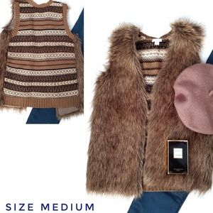 Brown Boho Faux Fur Knit Sweater Vest Med